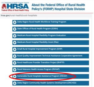 List of Federal Office of Rural Health Policy Rural Hospital Programs