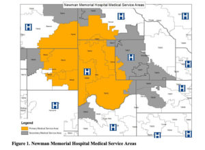 Map of Newman Memorial Hospital's service area