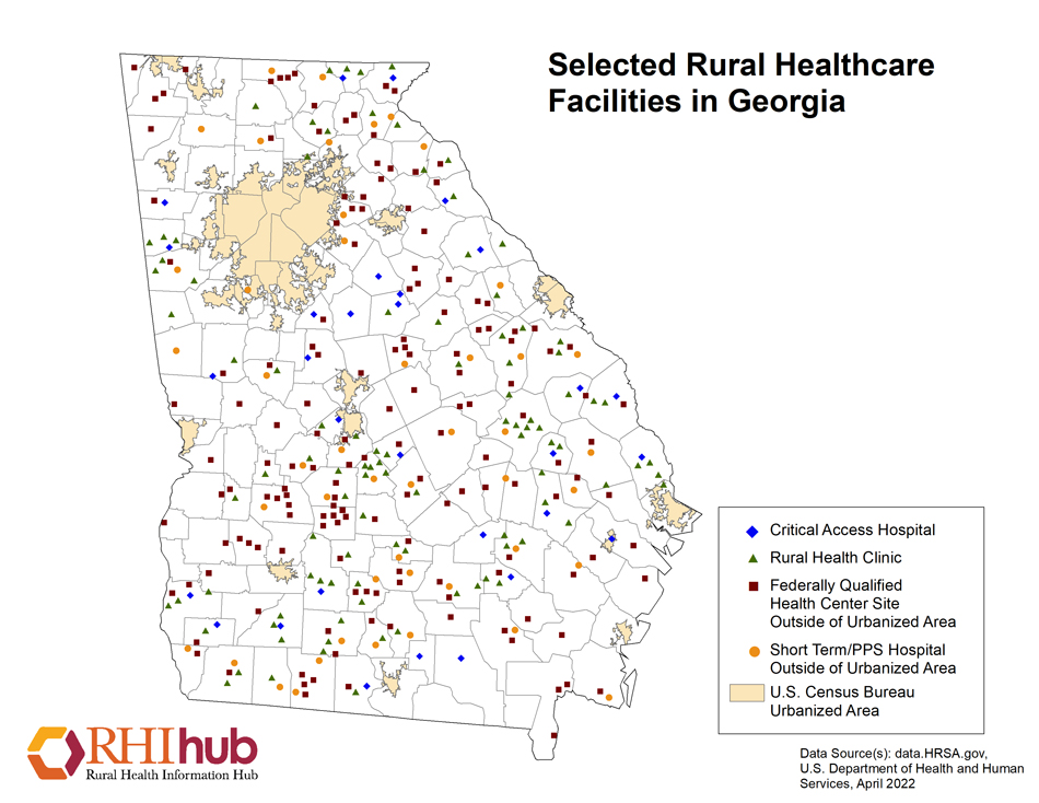 Map Of Georgia Hospitals.Georgia Resources Rural Health Information Hub