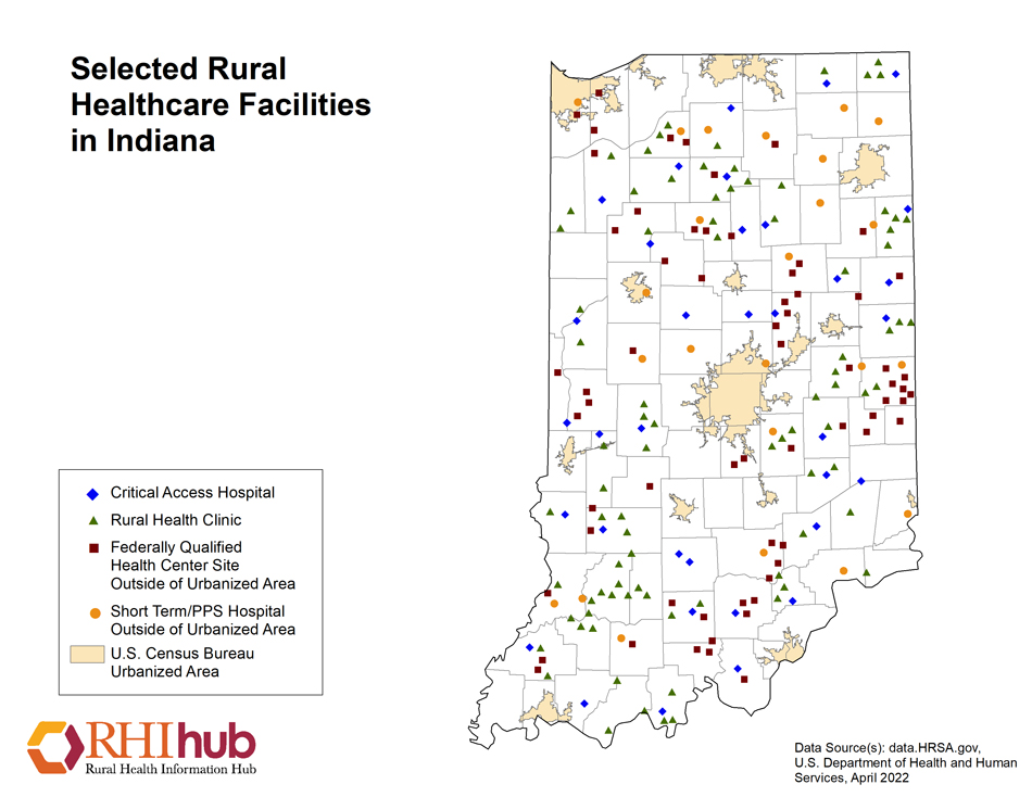 Rural Health For Indiana Introduction Rural Health Information Hub - Indiana on us map