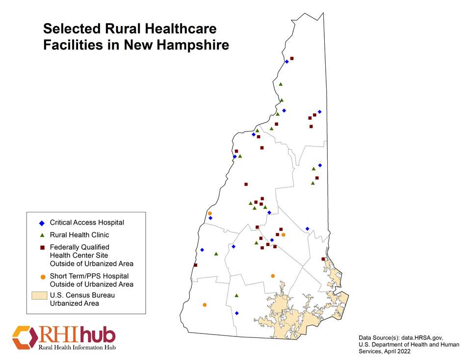 Rural Health For New Hampshire Introduction Rural Health - New hampshire population map