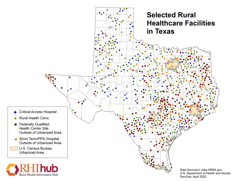Rural Health For Texas Introduction Rural Health Information Hub - Full map of texas